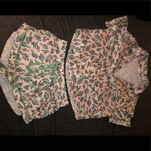 Silky cactus pajama set. Top and bottom size small